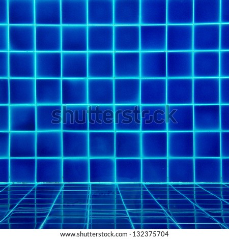 blue tiles swimming pool pattern - stock photo