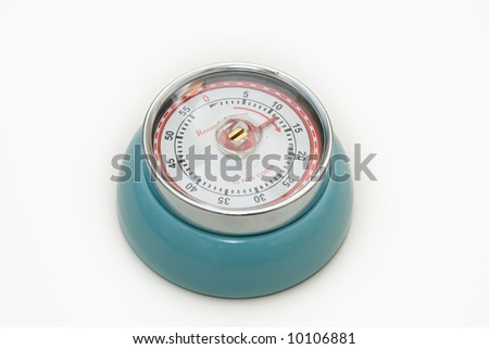 Blue timer isolated on white - stock photo