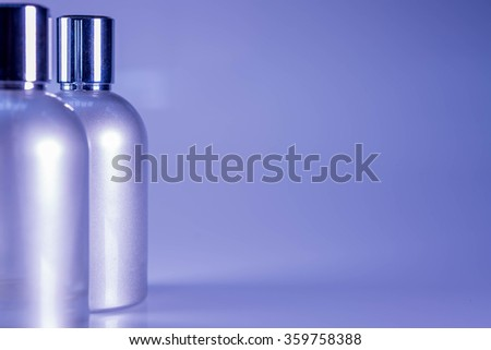 Blue Tone and Side View : Two aluminum bottles - stock photo
