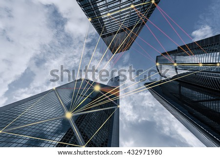 blue tone city scape and network connection concept in Hongkong - stock photo