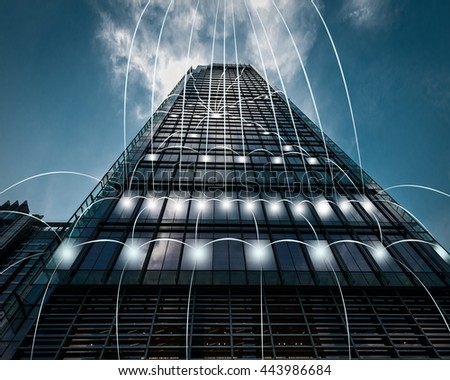 blue tone city scape and network connection concept in shanghai - stock photo