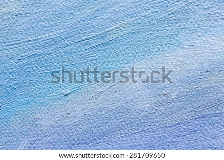 blue tone color oil painted brush strokes on canvas texture background - stock photo