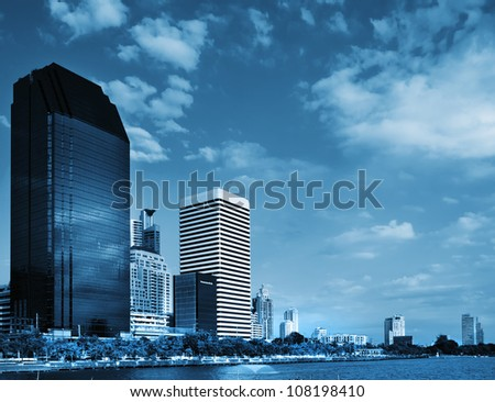 Blue tone General Building and sky Bright Day in Bangkok