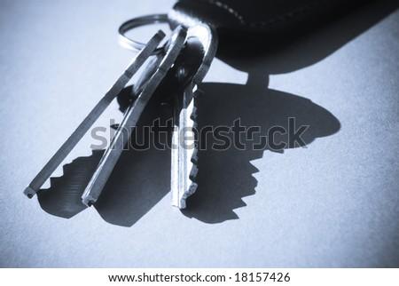 Blue toned close-up of house keys and key fob - stock photo