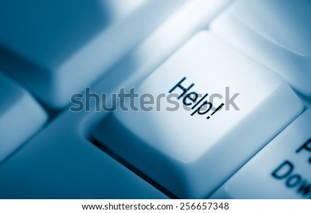 Blue toned concept image with help word on computer keyboardoals word on computer keyboard - stock photo