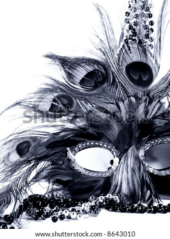 blue toned Mardi Gras mask - stock photo