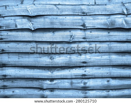 Blue toned wood fencing (non repeating) pattern useful for wallpaper or backgrounds. - stock photo