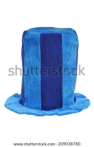 Blue top hat on white background - stock photo