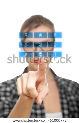 Blue touch screen numeric keypad and finger selecting number 2, blonde student girl