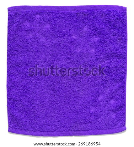 blue towel isolated on white background - stock photo