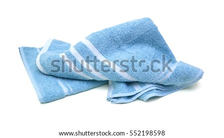Blue towel isolated on white background