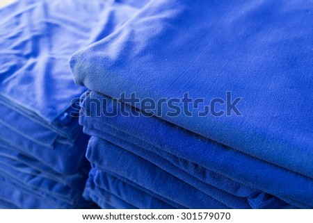 blue towel softness fluffy fiber fabric of textile fabric industrial - stock photo