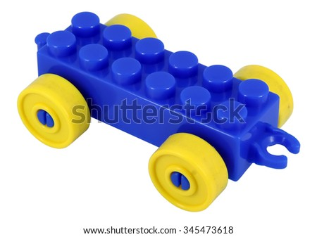 Blue toy car. Kids toy car. Blue plastic car. - stock photo