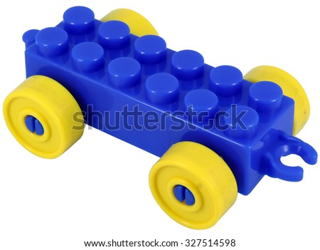 Blue toy car. Toy car. - stock photo