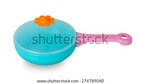 Blue toy pan isolated on white background - stock photo