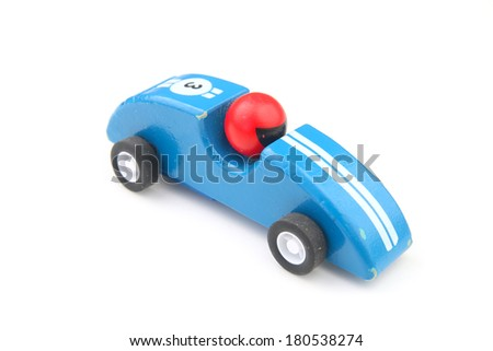 Blue toy race car isolated on white - stock photo
