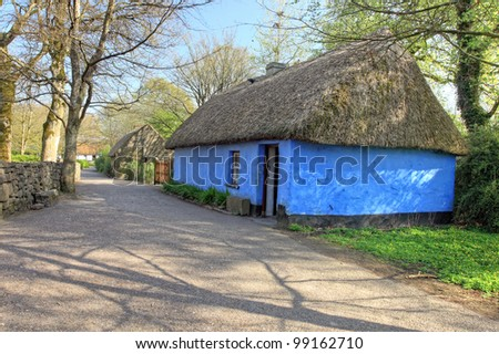 Blue Traditional house in Bunratty Folk Park - Ireland. - stock photo