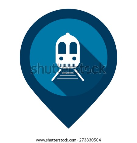Blue Train, Subway Station or Railway Station Map Pointer Icon Isolated on White Background  - stock photo
