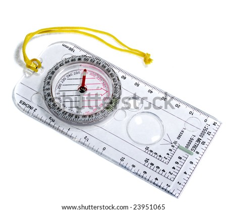 blue  transparent compass with rule scale on white background