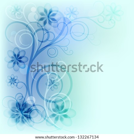 Blue transparent flowers. Raster copy of vector image - stock photo
