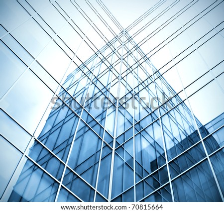 blue transparent glass wall of business center