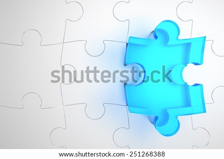 blue transparent piece of puzzle above its right position