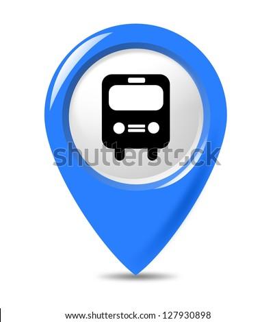Blue transportation bus marker isolated on white background. - stock photo