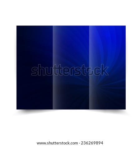 Blue tri-fold brochure design template with abstract background with sunbeams. Tri-Fold Mock up & back Brochure Design - stock photo