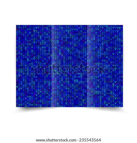 Blue tri-fold brochure design template with abstract knitted background Tri-Fold Mock up & back Brochure Design