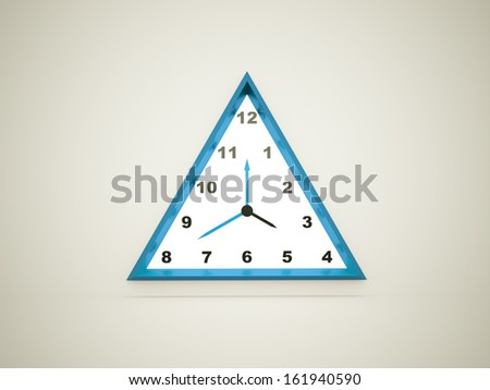 Blue triangle clock rendered - stock photo