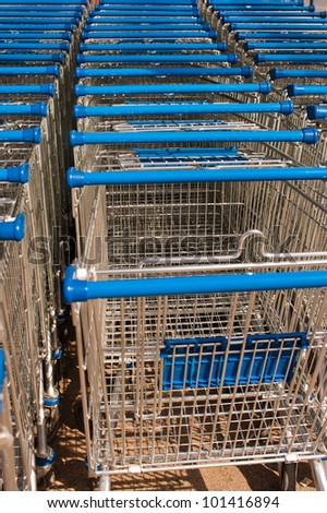 blue trolley for shopping - stock photo