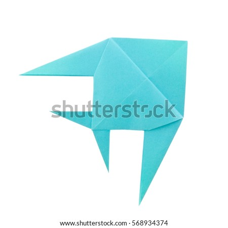 Blue tropical fish of origami. Isolated on white background