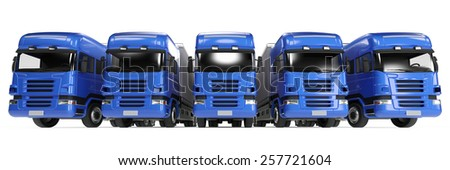 Blue truck fleet for freight delivery in forwarding agency (3D Rendering) - stock photo