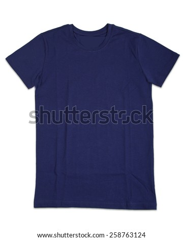 Blue tshirt template isolated on white. T-shirt template ready for your own graphics - stock photo