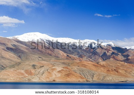 Blue Tso Moriri with White Mountains, Ladakh, India