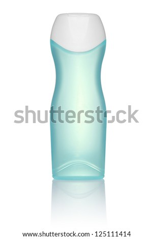 Blue tube bottle of shampoo, conditioner, hair rinse, gel, on a white background with reflection - stock photo