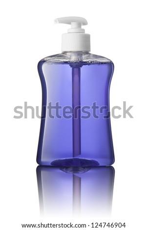 Blue tube bottle of shampoo, conditioner, hair rinse, gel, soap, on a white background with reflection. - stock photo