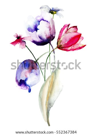 Blue Tulips flowers with wild flowers, watercolor illustration