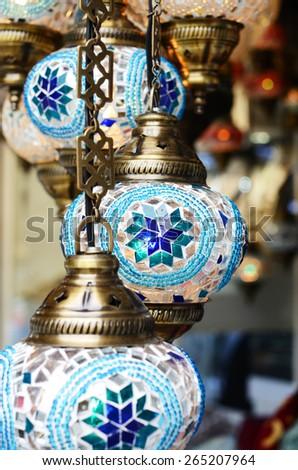Blue turkish mosaic lanterns, traditional handicraft - stock photo
