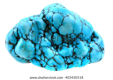 blue turquoise mineral isolated on the white background