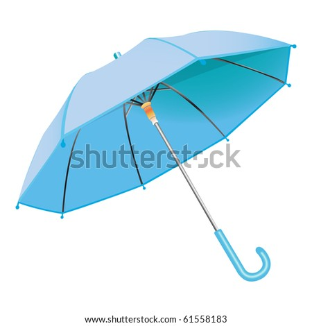 blue umbrella against white background, abstract art illustration; for vector format please visit my gallery