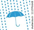 blue umbrella and rain drops - stock vector
