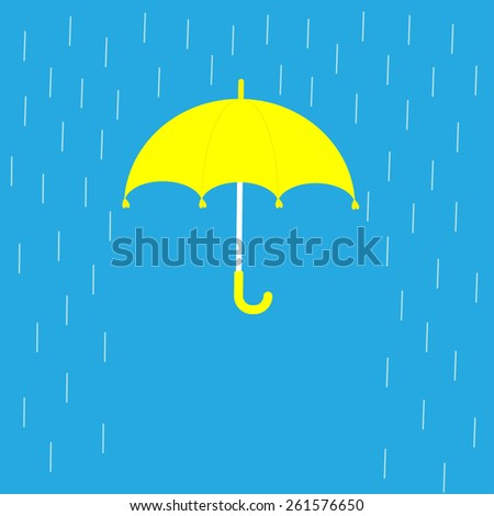 Blue umbrella and rain lines. Template. Flat design  - stock photo
