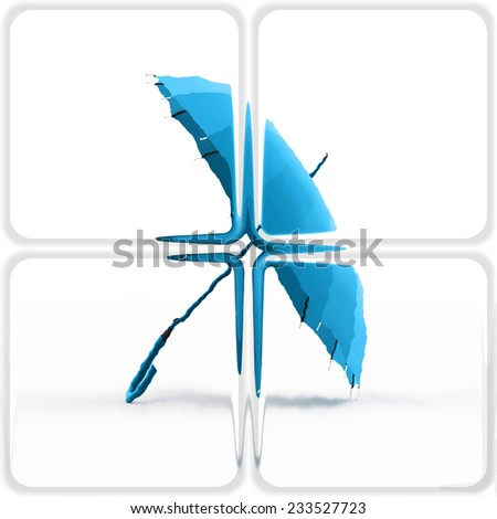 Blue umbrella concept on glass generated