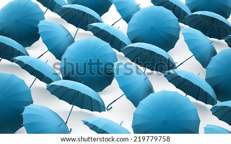 Blue umbrella concept rendered  - stock photo