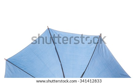 Blue umbrella isolated on white background.
