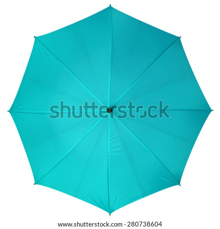 Blue umbrella isolated on white background. Clipping path included. - stock photo