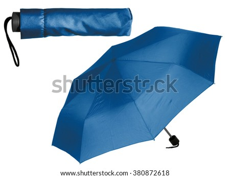 Blue Umbrella on white background - stock photo
