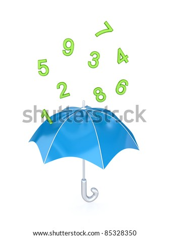 Blue umbrella under the rain of green numbers.Isolated on white background. - stock photo
