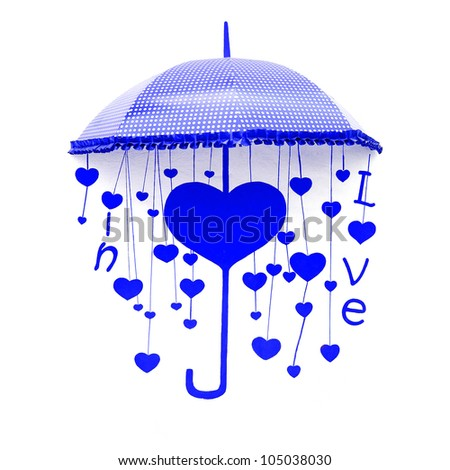 blue umbrella with heart and love